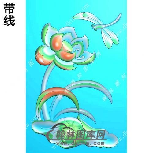 蜻蜓荷花46牌挂件带线精雕图(HLN-102)