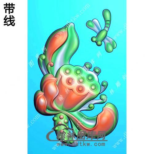 蜻蜓荷花挂件带线精雕图(HLN-088)