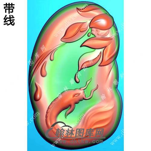 玉雕随形凹底滴水莲花鱼挂件带线精雕图(GJY-208)