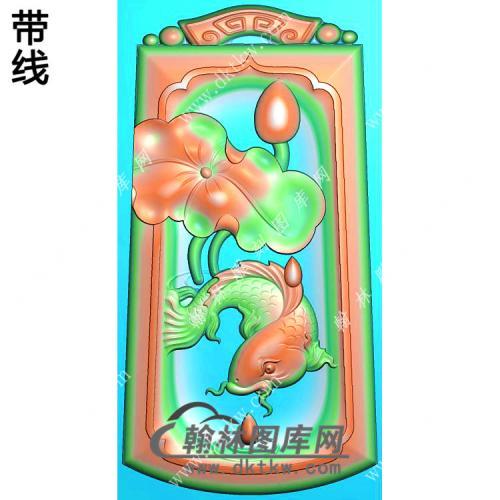 玉雕梯形凹底仿古牌头荷叶鱼挂件带线精雕图(GJY-145)
