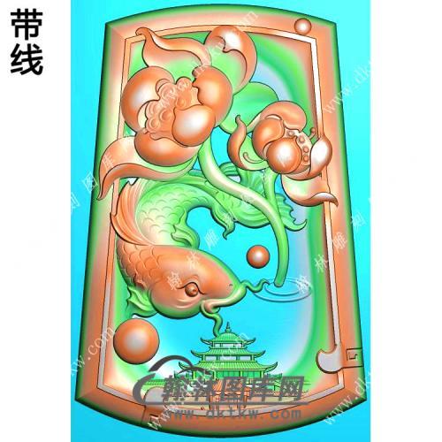 玉雕梯形凹底荷花鱼挂件带线精雕图(GJY-185)