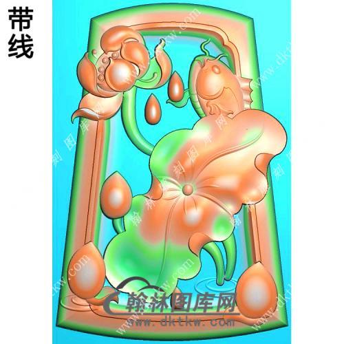 玉雕梯形凹底荷花鱼挂件带线精雕图(GJY-186)