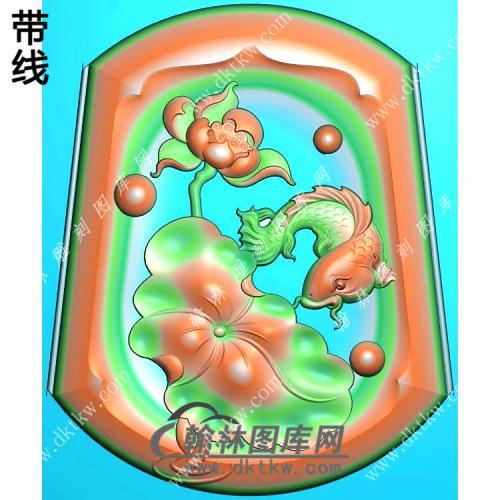 玉雕梯形凹底荷花鱼挂件带线精雕图(GJY-187)