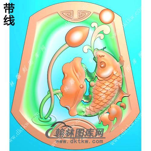 玉雕梯形凹底荷叶鱼挂件带线精雕图(GJY-184)