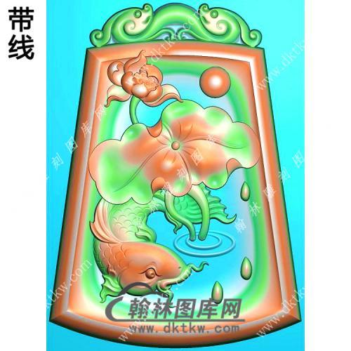 玉雕梯形凹底双龙牌头荷花鱼挂件带线精雕图(GJY-139)