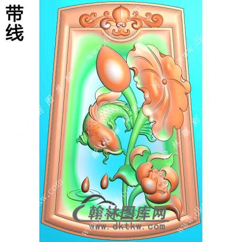 玉雕梯形凹底洋花牌头荷花鱼挂件带线精雕图(GJY-140)