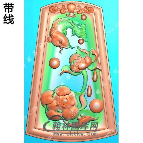 玉雕梯形凹底洋花牌头荷花鱼挂件带线精雕图(GJY-189)