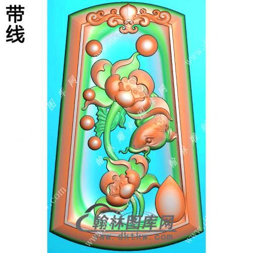 玉雕梯形凹底洋花牌头荷花鱼挂件带线精雕图(GJY-190)