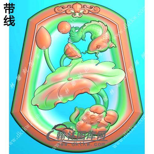 玉雕梯形凹底洋花牌头荷花鱼挂件带线精雕图(GJY-191)