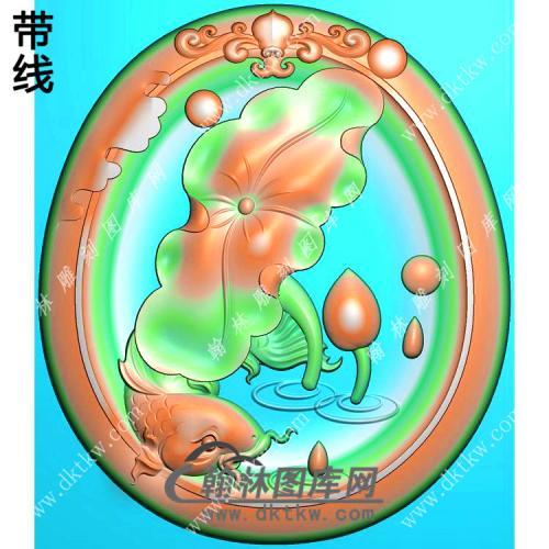 玉雕椭圆凹底洋花牌头荷叶鱼挂件带线精雕图(GJY-200)