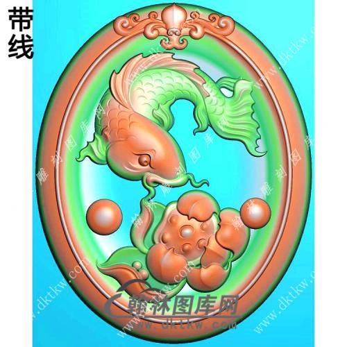 玉雕椭圆凹底洋花牌头莲花鱼挂件带线精雕图(GJY-179)