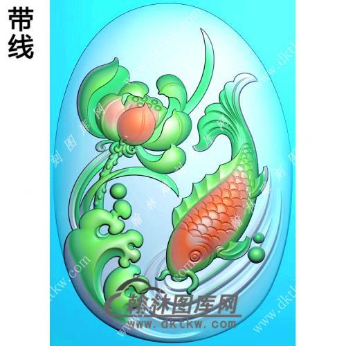 玉雕椭圆荷花鱼挂件带线精雕图(GJY-143)