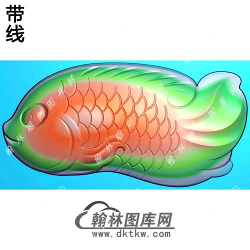 玉雕鱼把件精雕图(GJY-169)