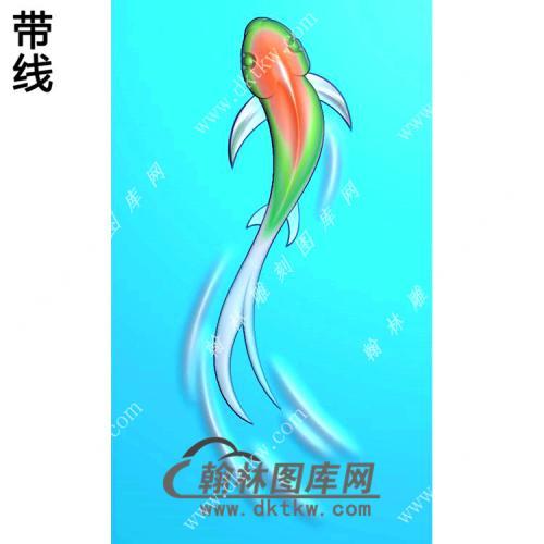 玉雕鱼挂件带线精雕图(GJY-141)
