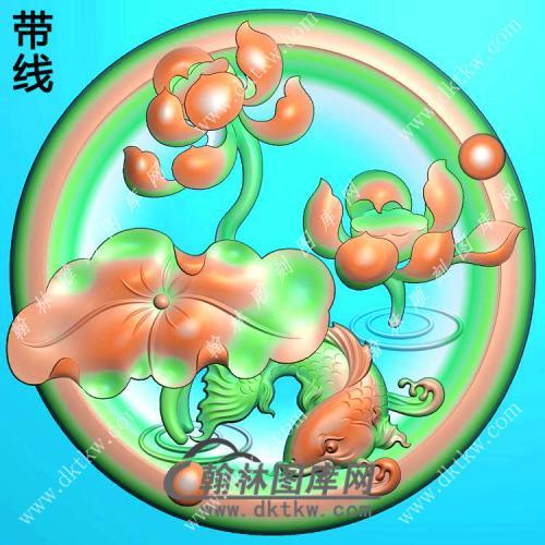 玉雕圆形凹底荷花鱼挂件带线精雕图(GJY-177)