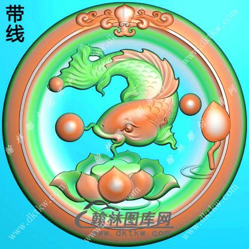 玉雕圆形凹底莲花鱼挂件带线精雕图(GJY-175)