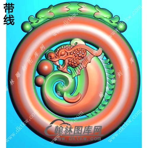 玉雕圆形双龙牌头镂空龙鱼挂件精雕图(GJY-195)