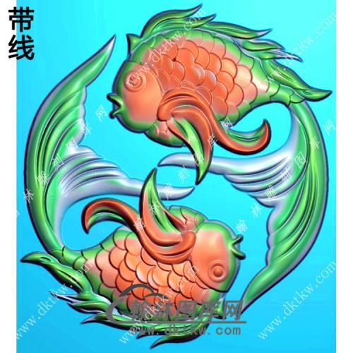 玉雕圆形双鱼挂件精雕图(GJY-197)