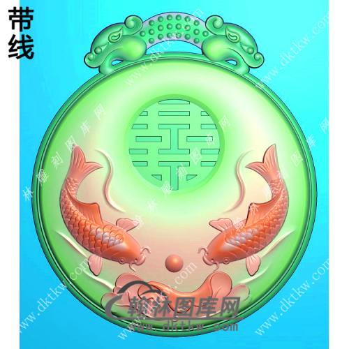 圆形双龙牌头双鱼吐宝挂件精雕图(GJY-157)