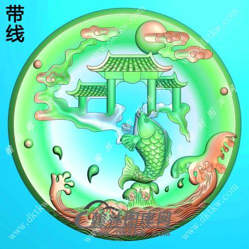 圆形鱼跃龙门挂件带线精雕图(GJY-165)