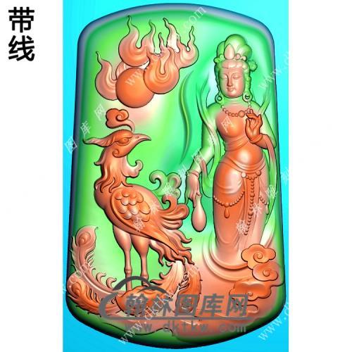 玉雕凤凰手持净瓶站立观音挂件带线精雕图(CGY-071)
