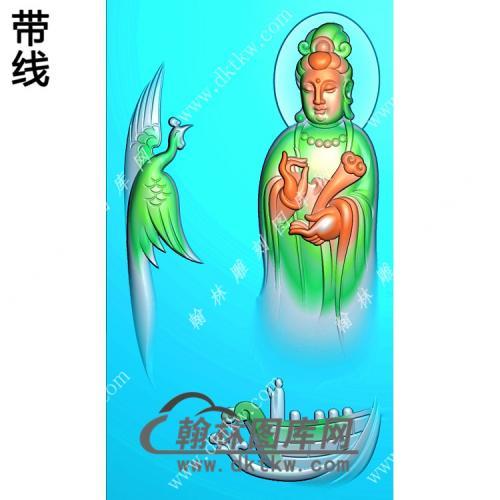 玉雕凤凰站立观音挂件精雕图(CGY-070)