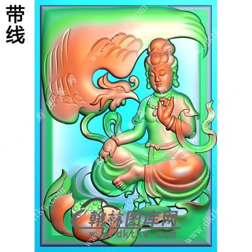 玉雕莲花凤凰座观音挂件带线精雕图(CGY-044)