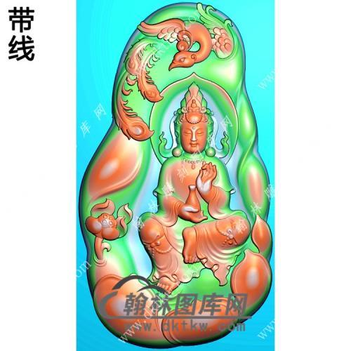玉雕随形凹底莲花凤凰手托净瓶坐观音挂件带线精雕图(CGY-074)