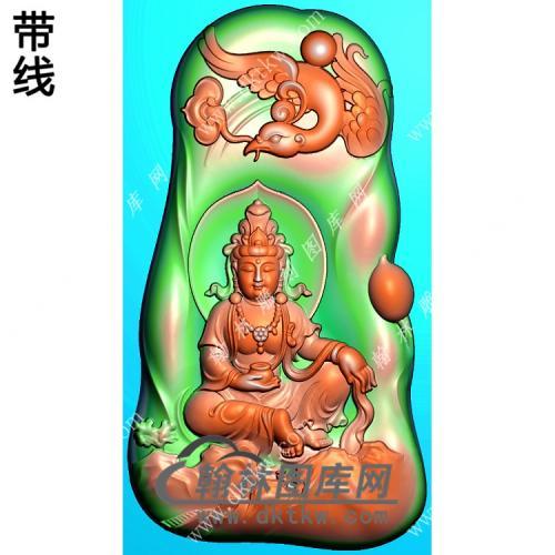 玉雕随形凤凰手托香炉坐山水观音挂件带线精雕图(CGY-075)