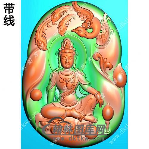 玉雕随形凤凰坐云观音挂件带线精雕图(CGY-076)