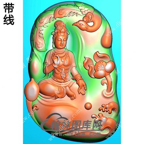 玉雕随形浪花莲花凤凰手捏佛珠坐观音挂件带线精雕图(CGY-077)