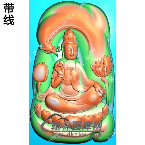 玉雕随形莲花坐莲台凤凰观音挂件带线精雕图(CGY-046)