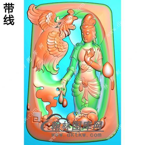 玉雕梯形凹底凤凰站立观音挂件带线精雕图(CGY-055)