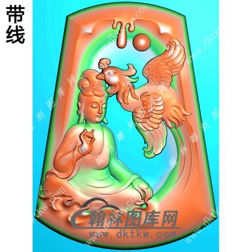 玉雕梯形凹底凤凰坐观音挂件带线精雕图(CGY-060)
