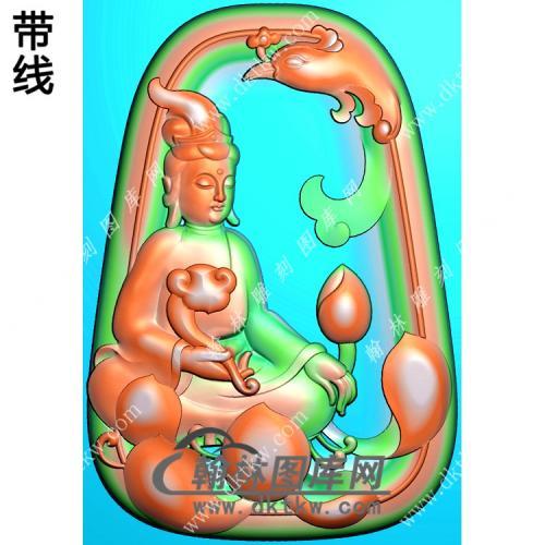 玉雕梯形凹底凤凰坐莲观音挂件带线精雕图(CGY-058)