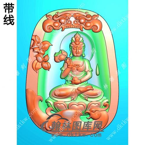 玉雕梯形凹底兽头兽面牌头凤凰坐莲观音挂件打击精雕图(CGY-065)