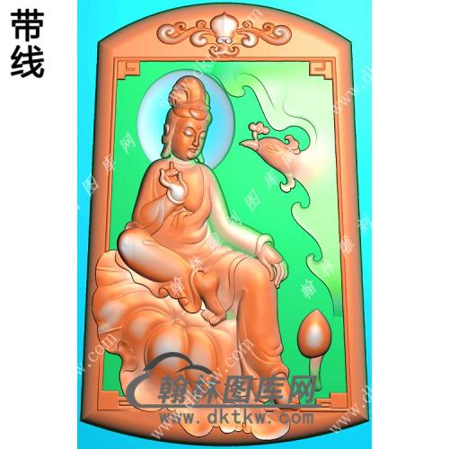 玉雕梯形洋花牌头坐荷叶凤凰观音挂件带线精雕图(CGY-053)