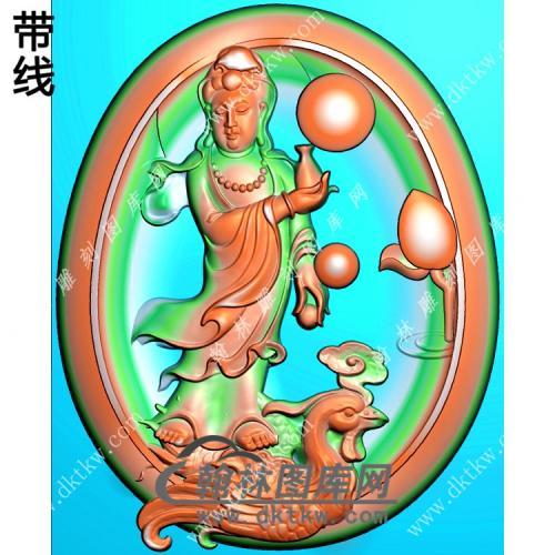 玉雕椭圆凹底站立凤凰观音挂件精雕图(CGY-048)