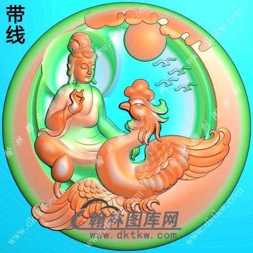 玉雕圆形凹底凤凰坐观音挂件带线精雕图(CGY-052)