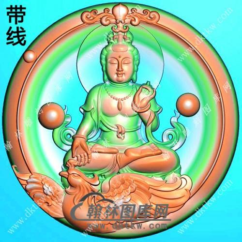 玉雕圆形凹底洋花牌头坐凤凰观音挂件精雕图(CGY-087)