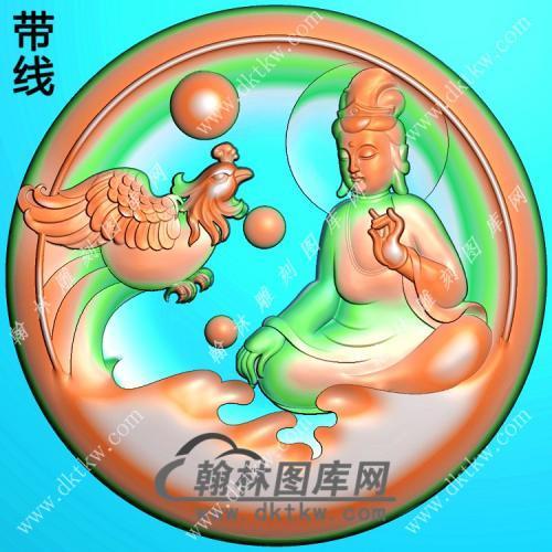 圆形凤凰观音挂件带线精雕图(CGY-030)