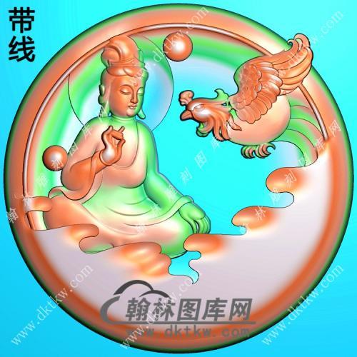 圆形凤凰观音挂件带线精雕图(CGY-032)