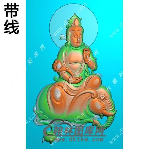 香炉如意普贤菩萨挂件带线精雕图(PXF-074)