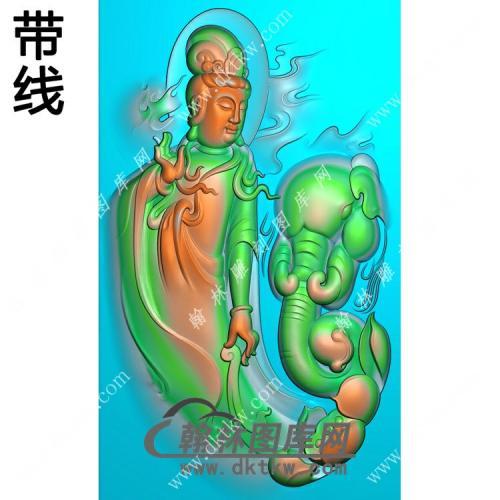 玉雕莲花象头站立普贤菩萨挂件带线精雕图(PXF-134)