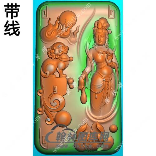 玉雕狮子莲花手持净瓶站立观音挂件带线精雕图(PXF-151)