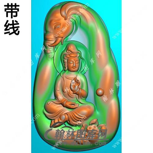 玉雕手捏佛珠莲花象头坐普贤菩萨挂件带线精雕图(PXF-141)