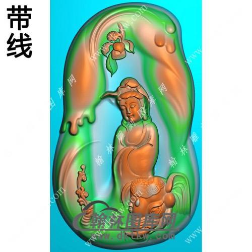 玉雕随形凹底莲花象头普贤菩萨挂件带线精雕图(PXF-223)