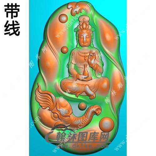 玉雕随形凹底象头手托净瓶坐普贤菩萨挂件带线精雕图(PXF-152)