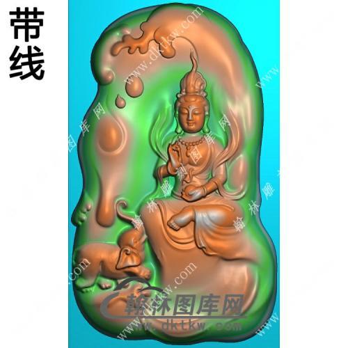 玉雕随形莲花大象坐姿普贤菩萨挂件带线精雕图(PXF-221)