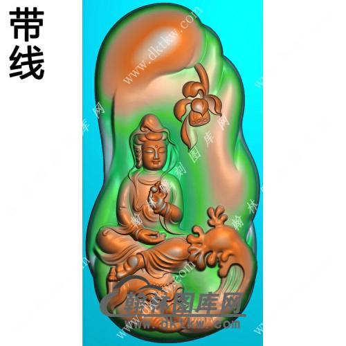 玉雕随形莲花坐象头普贤菩萨挂件带线精雕图(PXF-142)
